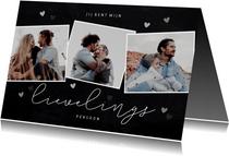 Stijlvolle valentijnskaart met fotocollage en hartjes