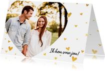 Stijlvolle valentijnskaart met grote foto en gouden hartjes