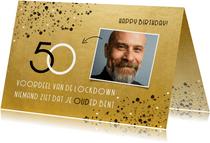 Stijlvolle verjaardagskaart goud 50 jaar voordeel lockdown