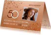 Stijlvolle verjaardagskaart roest 50 jaar voordeel lockdown
