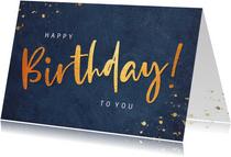 Stijlvolle verjaardagskaart voor een man met happy birthday