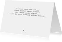 Stijlvolle vriendschapskaart met lief gedicht