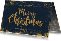 Stijlvolle zakelijke kerstkaart blauw, goud Merry Christmas