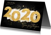 Stijlvolle zakelijke kerstkaart gouden 2020 en verf