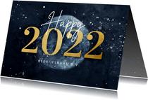 Stijlvolle zakelijke kerstkaart gouden 2022 met wereldbol
