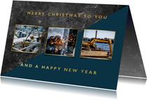 Stijlvolle zakelijke kerstkaart met beton en typografie