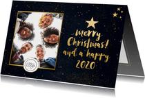 Stijlvolle zakelijke kerstkaart met goud, eigen foto en logo