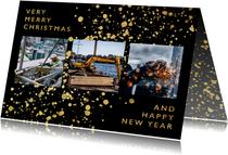 Stijlvolle zakelijke kerstkaart met gouden spetters