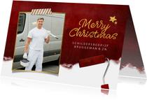 Stijlvolle zakelijke kerstkaart met verfroller en foto
