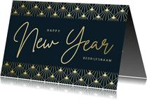 Stijlvolle zakelijke nieuwjaarskaart - Art deco stijl goud