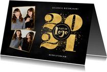 Stijlvolle zakelijke nieuwjaarskaart gouden spetters en 2021