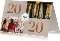 Stijlvolle zakelijke nieuwjaarskaart met fotocollage en 2020