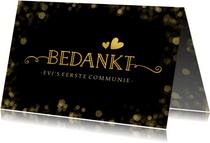 Stijlvolle zwarte communie bedankkaart met gouden accenten
