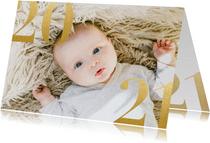 Stilvolle Neujahrskarte mit großem Foto und 2021