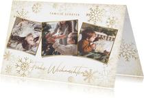 Stilvolle Weihnachtskarte goldene Schneeflocken & Fotos