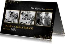 Stilvolle Weihnachtskarte mit drei Fotos in Rahmen