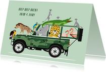 Stoere jeep met vrolijke dieren wenst een fijne verjaardag
