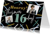 Stoere verjaardagskaart met abstracte kaarsjes en foto