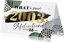 Stoere verjaardagskaart met jaartal in goud en watercolour