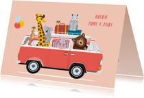 Stoere verjaardagskaart met volkswagen busje en dieren