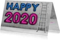 Stoere zakelijke 'Happy 2020' met neon en eigen logo