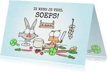 Succes kaart met een konijn en een eekhoorn in de keuken