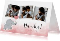 Taufe Dankeskarte rosa Aquarell Elefant Luftballon & Fotos