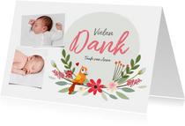 Taufkarte Danksagung Fotos, Blumen und Vogel