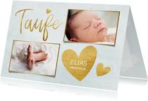 Taufkarte Einladung blau Fotos & Goldherzen