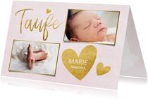 Taufkarte Einladung rosa Fotos & Goldherzen