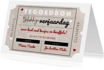 Tegoedbon maken gelukkige verjaardag vintage bon