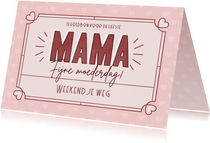 Tegoedbon moederdag kaart met kader en hartjes