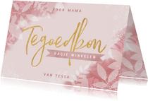 Tegoedbon voor moederdag met plantjes, spetters & typografie