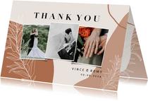 Trendy bedankkaart bruiloft abstracte vormen en takje