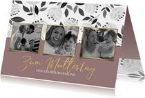 Trendy Muttertagskarte mit 3 Fotos und Blumen