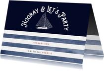 Trendy uitnodiging verjaardag vintage boot en marinelook