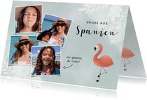 Trendy Urlaubskarte mit eigenen Fotos und Flamingo