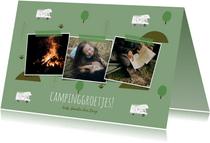 Trendy vakantiekaart camper en natuur elementen fotocollage