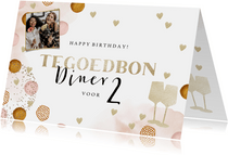 Trendy verjaardagskaart tegoedbon met waterverf en foto
