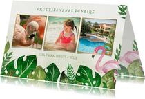 Tropische fotocollage vakantiekaart met bladeren en flamingo