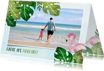 Tropische Urlaubskarte mit eigenem Foto und Flamingo