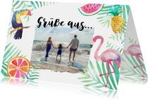 Tropische Urlaubskarte mit Foto, Tukan und Flamingo