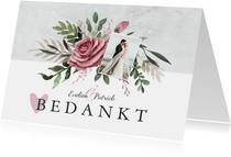 Trouwkaart bedankt stijlvol vintage bloemen