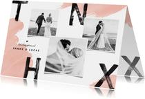 Trouwkaart bedankt wedding thnx fotocollage verf