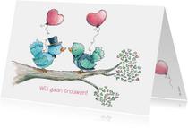 Trouwkaart bruidegommen vogeltjes