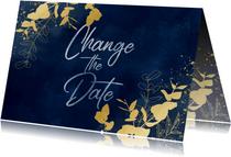 Trouwkaart Change the date blauwe waterverf gouden planten
