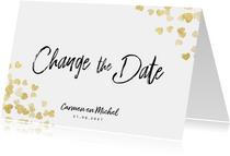Trouwkaart Change the date gouden hartjes
