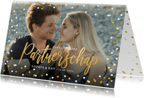 Trouwkaart geregistreerd partnerschap uitnodiging met foto