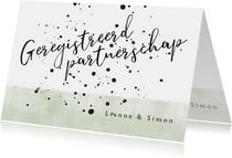 Trouwkaart geregistreerd partnerschap waterverf en spetters