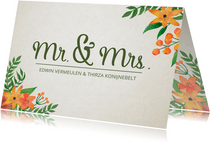 Trouwkaart Mr. & Mrs. Bloemen